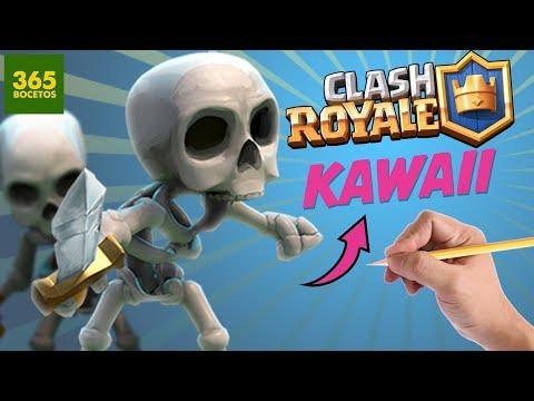 Como dibujar a los Esqueletos de Clash Royale kawaii