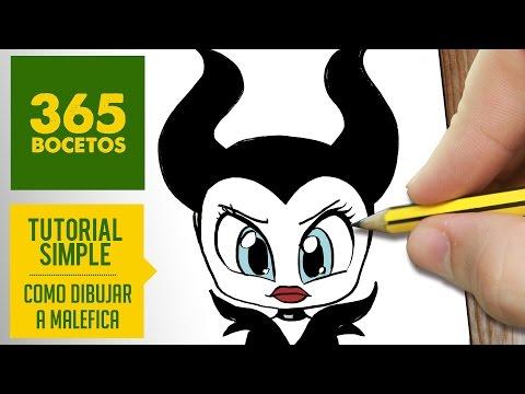 Como dibujar a maléfica kawaii