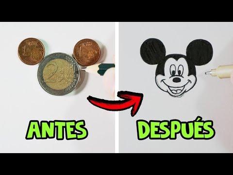 Como dibujar a Mickey Mouse con monedas