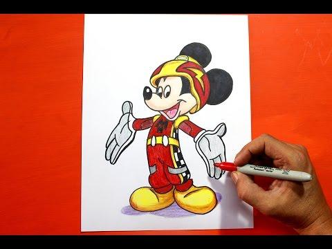 Como dibujar a Mickey Mouse en Aventuras sobre Ruedas