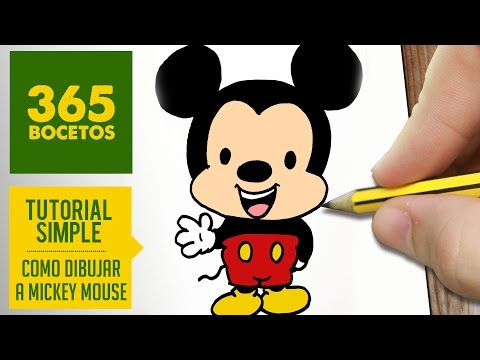 Como dibujar a Mickey Mouse kawaii