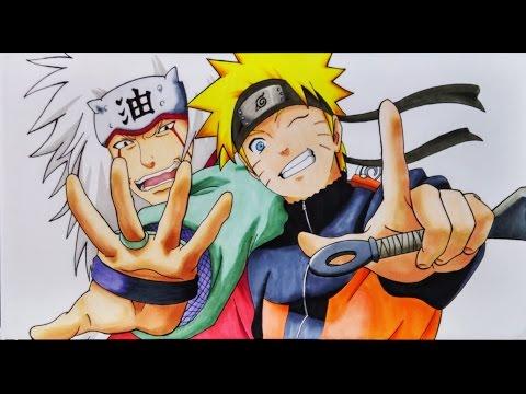 Como Dibujar a Naruto con Jiraiya saludando