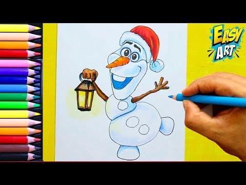 Como dibujar a Olaf para Navidad