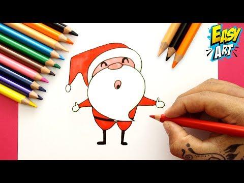 Como dibujar a Papá Noel fácil paso a paso