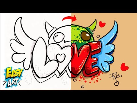 Como dibujar a partir de la palabra Love paso a paso