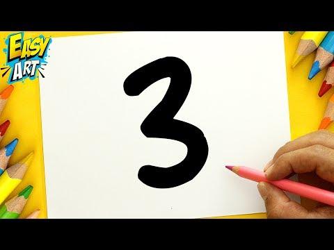 Como dibujar a partir del número 3 fácil