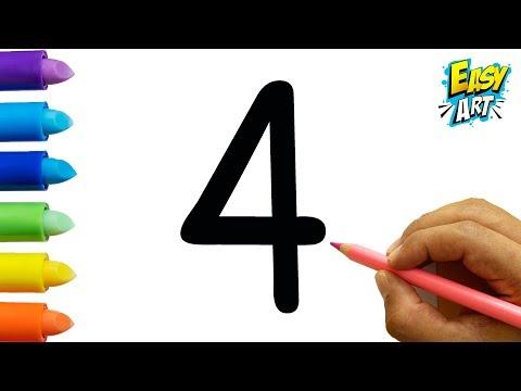 Como dibujar a partir del número 4 fácil