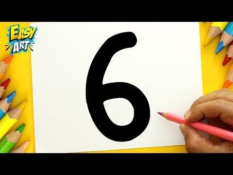 Como dibujar a partir del número 6 fácil