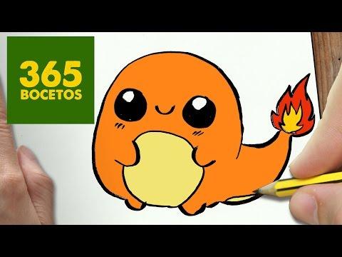 Como dibujar a pequeño  Charmander de Pokémon