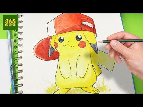 Como dibujar a Pikachu con gorra