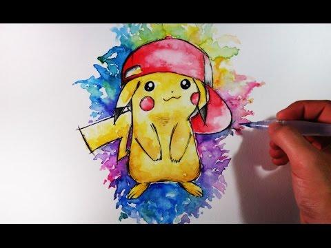 Como Dibujar a Pikachu y colorearlo con Acuarelas