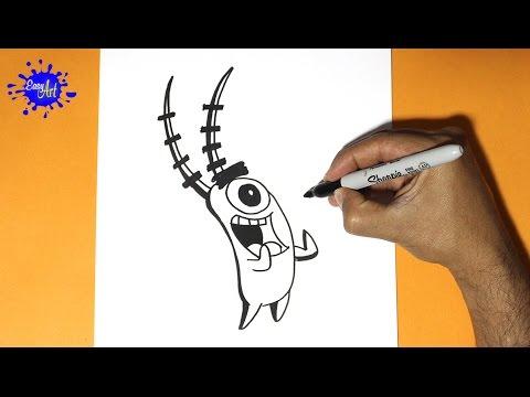 Como dibujar a Plankton de Bob Esponja
