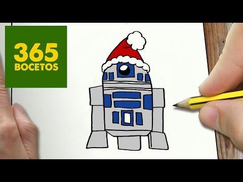 Como dibujar a R2D2 de Navidad