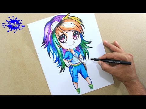 Como dibujar a Rainbow Dush de My Little Pony chibi
