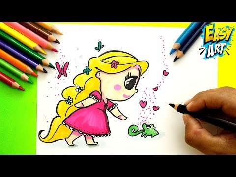 Como dibujar a Rapunzel Cute
