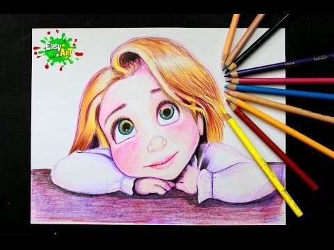 Como dibujar a Rapunzel de Enredados