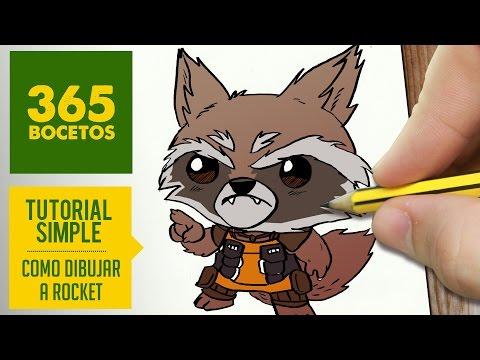 Como dibujar a Rocket de Los Guardianes de la Galaxia kawaii