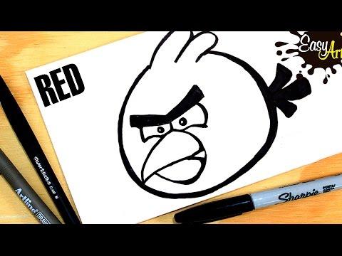 Como dibujar a Rojo de Angry Birds