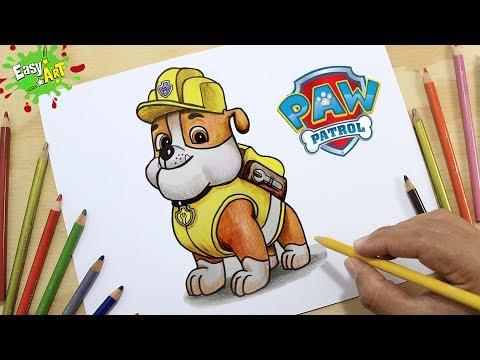 Como dibujar a Rubble de La Patrulla Canina