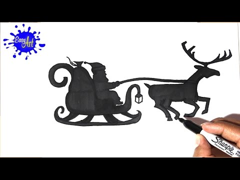 Como dibujar a Santa Claus con su trineo para Navidad