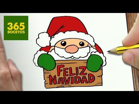 Como dibujar a Santa Claus con un cartel de Feliz Naviad