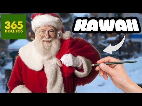 Como dibujar a Santa Claus kawaii para Navidad
