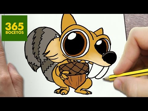 Como dibujar a Scrat de Ice Age kawaii