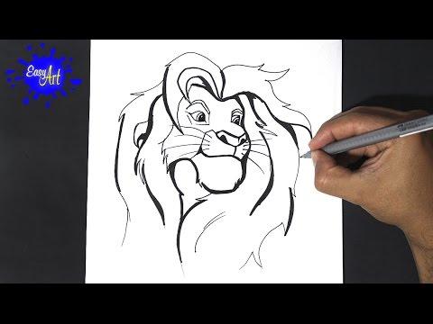 Como dibujar a Simba de Disney paso a paso