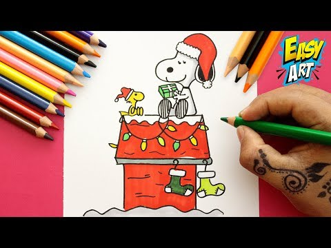 Como dibujar a Snoopy para Navidad fácil