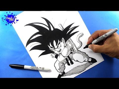 Como dibujar a Son Goku de pequeño