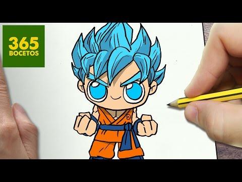 Como dibujar a Son Goku Super Saiyan Dios Chibi