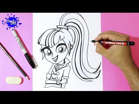 Como dibujar a Sonata Dusk de My Little Pony paso a paso