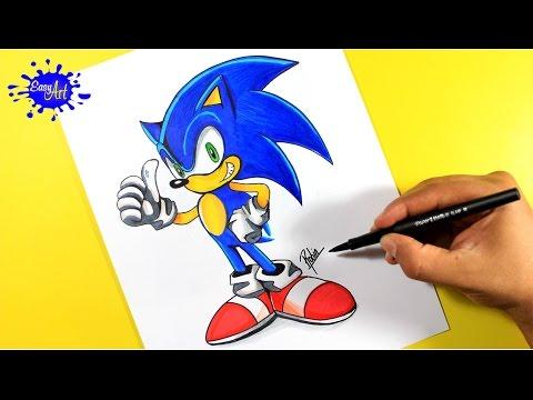 Como dibujar a Sonic de SEGA fácil