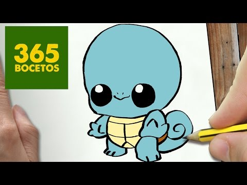 Como dibujar a Squirtle de Pokémon kawaii