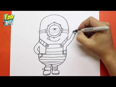 Como dibujar a Stuart de Los Minions