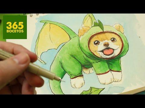 Como dibujar a un perrito disfrazado de Dragón