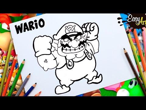 Como dibujar a Wario de Nintendo