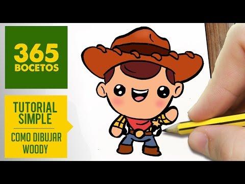 Como dibujar a Woody de Toy Story kawaii