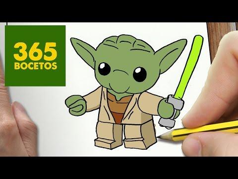 Como dibujar a Yoda Lego kawaii