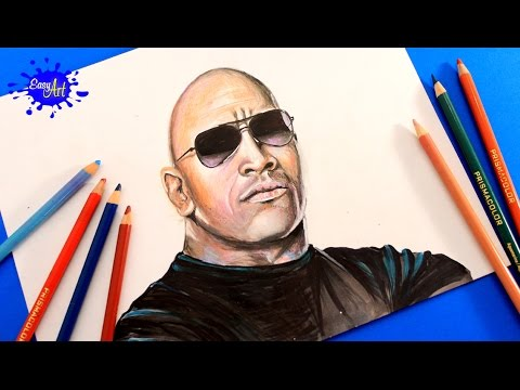 Como dibujar al actor Dwayne Johnson