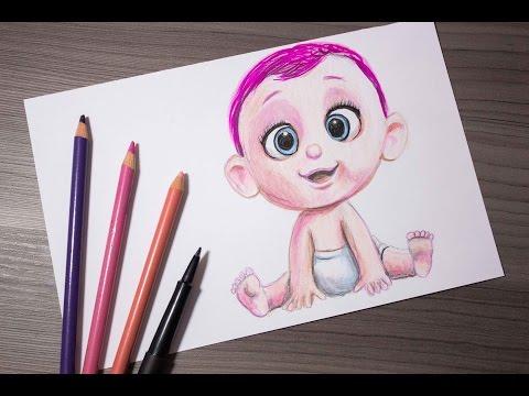 Como dibujar al Bebé de Cigüeñas