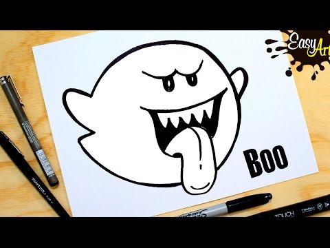 Como dibujar al Fantasma Boo de Mario Bros