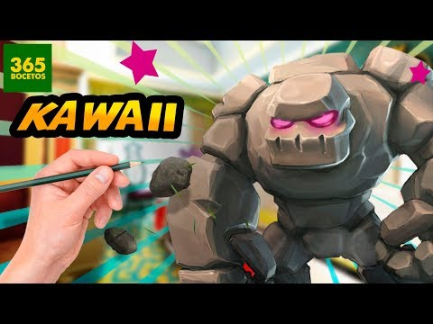 Como dibujar al Gólem de Clash Royale kawaii