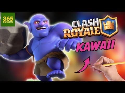 Como dibujar al Lanzarrocas de Clash Royale kawaii