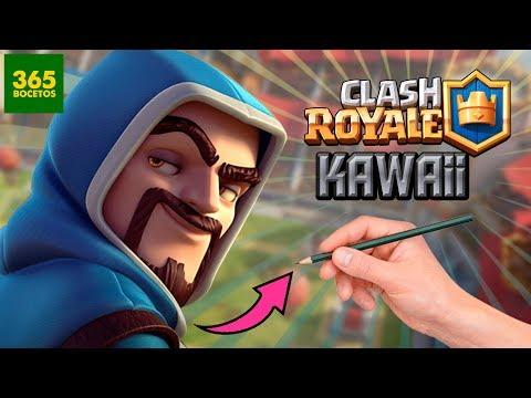 Como dibujar al Mago de Clash Royale kawaii