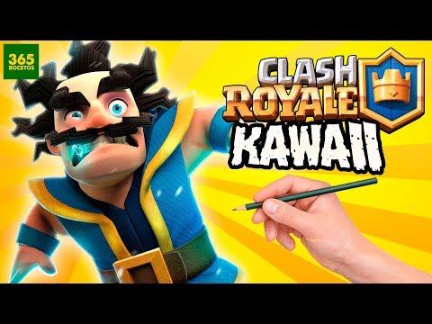 Como dibujar al Mago Eléctrico de Clash Royale kawaii