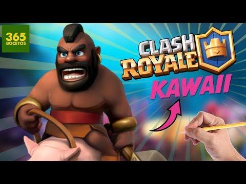 Como dibujar al Montapuercos de Clash Royale kawaii