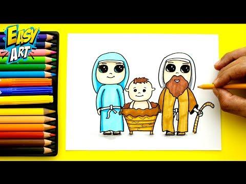 Como dibujar al niño Jesús con María y José para Navidad