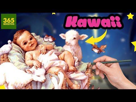Como dibujar al Niño Jesús estilo kawaii
