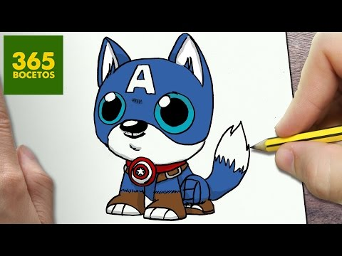 Como dibujar al Perro Capitán América kawaii